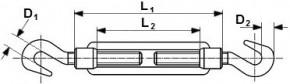 Napínače na lano hák-hák DIN 1480 Ocel Zinek bílý