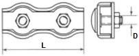 Lanové svorky Duplex Ocel Zinek bílý
